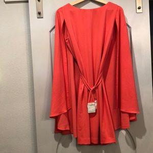 Marc Bouwer hybrid coral cape dress. NWT!